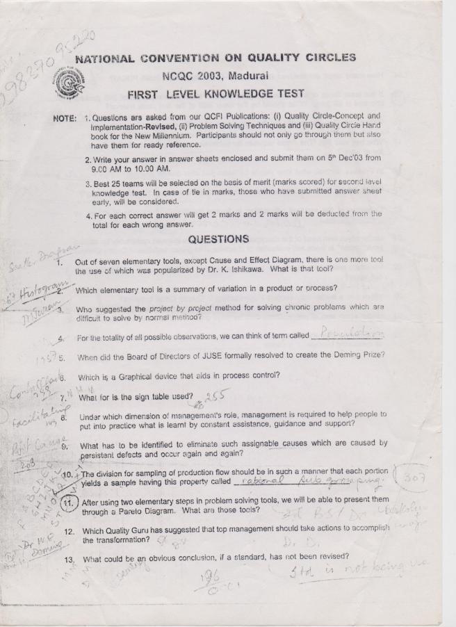 1 NCQC First Level 2000 English